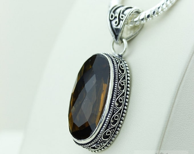 Brandy CITRINE 925 S0LID Sterling Silver Vintage Style Setting Pendant + 4mm Snake Chain & Free Worldwide Shipping p2545