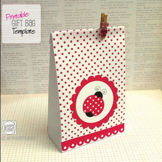 tags for gift bags template - items similar to pink spot ladybug gift bag template