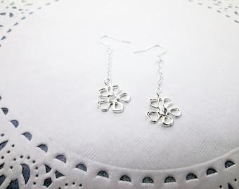 Sterling Silver Flower Earrings Long Dangle Daisy Earrings Flower Drop Earrings Bridal Bridesmaid Gift Girlfriend Valentine Day Gift For Her