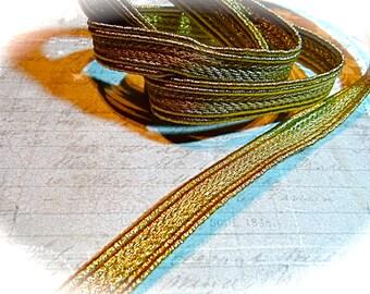 Vintage Metallic Braid Gold Braid Costume Trim Sewing Supplies T-147