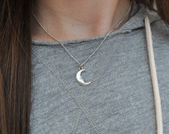 Sterling Silver Luna Necklace // Crescent Moon Dainty Satellite Chain