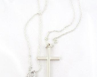 Cross necklace in metal, cross jewelry, cross pendant, silver cross- long chain necklace
