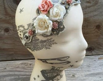 Beads and Roses Bridal Headband