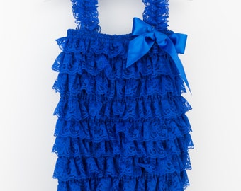 Royal Blue Petti Lace Romper, Lace blue baby romper, Baby girl romper