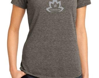 Yoga Clothing For You Ladies Shirt Grey Namaste Lotus Lace Back Tee T-Shirt = DM441-GNLOTUS