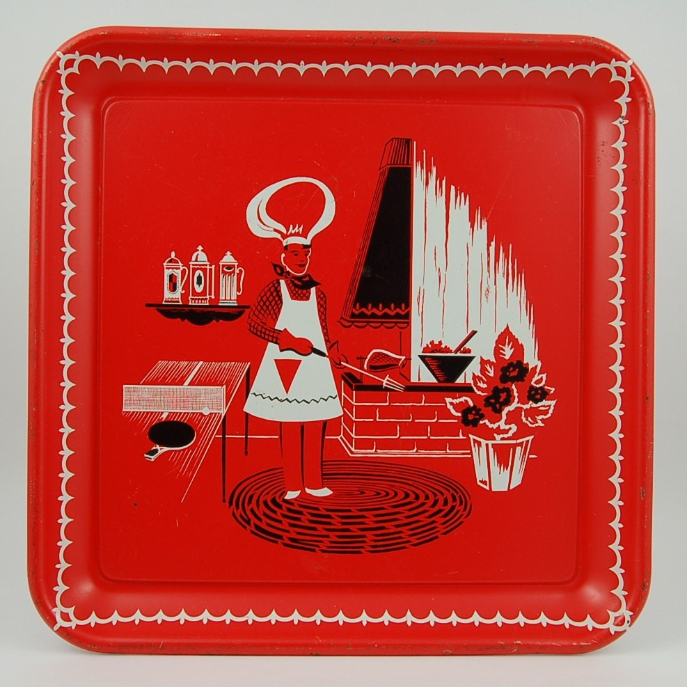 Vintage Barbecue Tray Red Metal Tray Bbq Tray Midcentury