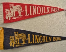 Vintage Lincoln Park Pennants. 2 Pennants One Price. Free Shipping!   3 1/2 inches by 11 inches each.  Red and Blue Pennants.
