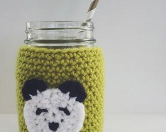 Crochet Panda Mason Jar Cozy | Home Decor | Drinkware | LIME | Ready to Ship
