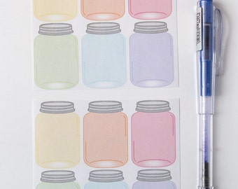 12 mason jar stickers, planner stickers, scrapbook sticker, reminder checklist sticker,  plumpaper eclp filofax happy planner kikkik