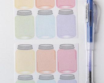 12 mason jar stickers, planner stickers, scrapbook sticker, reminder checklist sticker,  plumpaper eclp filofax happy planner kikkik
