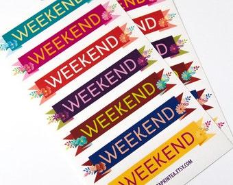 14 weekend stickers, banner stickers, flag stickers, planner stickers, scrapbook reminder, bunting, eclp filofax happy planner