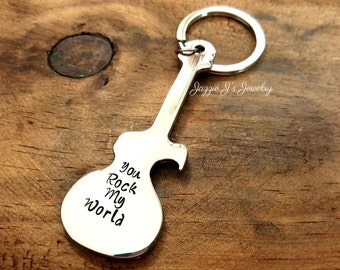 You Rock My World Hand Stamped Bottle Opener, Guitar Beer Opener Keychain, Personalized Gift, Gift for Him, Stamped Guitar Bottle Opener