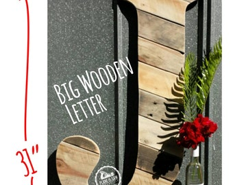 "31"" Rustic Letter J or Any Letter, Wooden Letter, Wood Letter, Wedding Guestbook Letter, Barn Style, Rustic Wedding, Country Wedding, Farm"