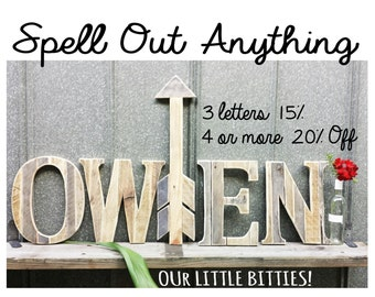 """Wooden Nursery Letter 12"""" Tall, Rustic Letters, Weathered Wood, Reclaimed, Alphabet Letters, Nursery Letters, Wooden Letters"""
