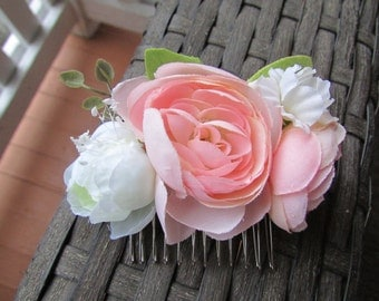 Blush Flower Wedding Hair Comb, Pink and Green Natural Flower Bridal Hair Accessory, Floral Headpiece, Flower Girl Hair Accessory,