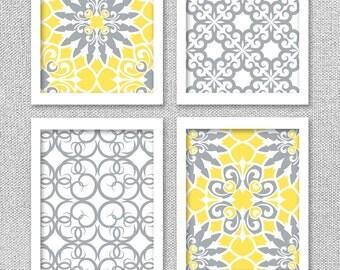 Printable Art, Yellow and Gray Art, Printable Art Set, Printable Wall Art, Digital Art Prints, Wall Decor, INSTANT DOWNLOAD
