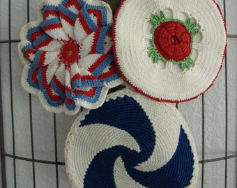 Set of 3 Americana Pot Holders / Hot Pads, Crochet, Red, White & Blue