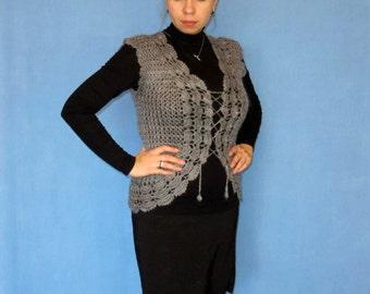 Hand knit vest, Goat down vest, Crochet vest, Wool vest, Handmade vest,The vest will hug your body and makes you look super slim,100%Natural