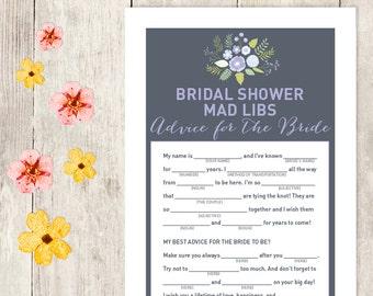 Floral Bridal Shower Game DIY / Lavender Purple Flower / Mad Libs Printable PDF / Advice for the Bride / Wedding Shower ▷ Instant Download