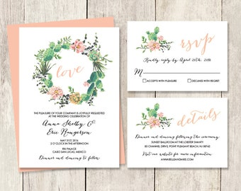 Floral Wedding Invitation Suite / Pink Flowers and Cactus Succulent / Fiesta Invite Set ▷ Printed Wedding Invitations {or} Printable
