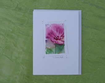 watercolor notecard, original painting, handmade, flower card, original watercolor card