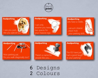 Bad Parking Cards - Full Colour Business card size - 6 designs Blue and Red