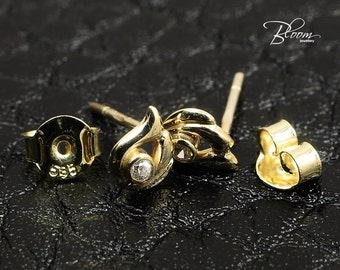 Childerns Stud Earrings 14K Solid Gold Studs Delicate Gold Studs for Little Girl Real Gold Stud Earrings Bloom Jewellery