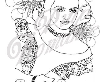50% OFF ***SALE*** Create Your own Technicolour! Bette Davis colouring page