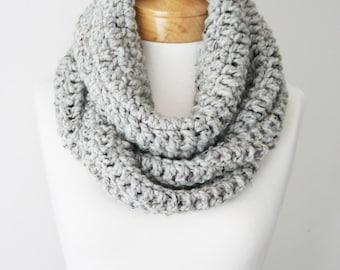 Chunky Infinity Scarf, Gray Scarf, Womens Scarf, Mens Scarf, Crocheted Scarf, Hand Knitted Scarf, Wool Scarf