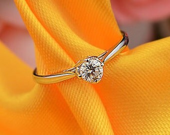 18k White Gold Diamond Ring Engagement Wedding Birthday Anniversary Valentine's