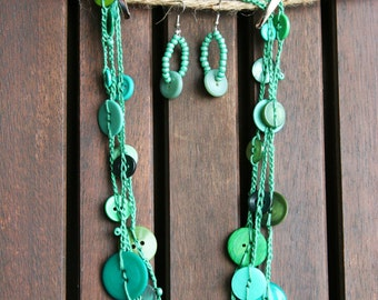 Vintage Button Necklace / Matching Earrings / Sea Green / 3 stacked crocheted strands
