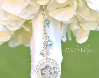 Bouquet Charm - Wedding Memorial Charm - Bridal Accessories - Bouquet Pendant - Bridal Gift - Something Blue - Bridal Bouquet Photo Keepsake