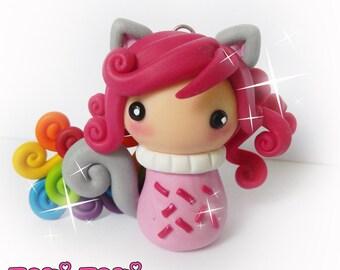Rainbow Neko, Kawaii Jewelry, Polymer Clay Necklace, Cute Necklace, Anime Necklace, Kawaii Necklace, Rainbow Jewelry, Kitty Necklace, Girly