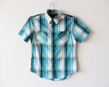 Turquoise Blue Plaid Short Sleeve Mens Shirt Boyfriend Button up Checked Sky Blue Shirt Cotton Casual Mens Work Wear Size Small To Medium