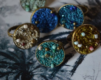 Blue green ring / textile jewellery / wearable art / fiber ring adjustable / textile ring