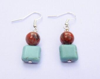 Handmade Turquoise and Tigereye Earrings. Koatl Earrings
