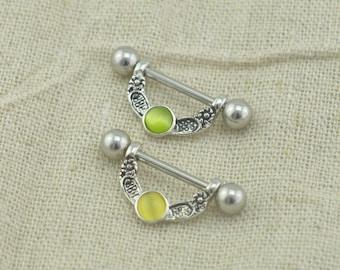 TWO nipple rings, cat's eye gemstones nipple rings nipple piercing