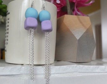 Blue and Purple Silver Tassel Earrings