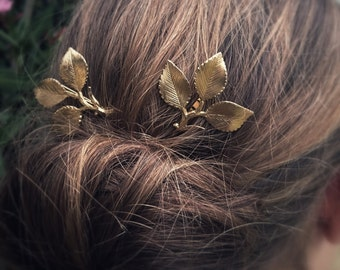 Branch Leaf Hair Pins Gold Branch Leaf Bobby Pins Leaf Hair Clip Wedding Accessories