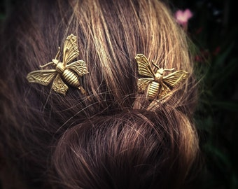 Butterfly Hair Pins Gold Butterfly Bobby Pins Brass Hair Pins Butterfly Hair Clips