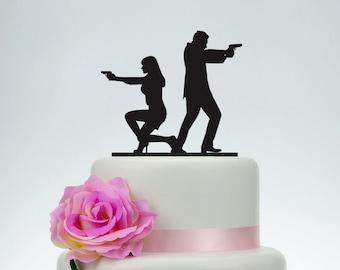Gun wedding Cake Topper, Custom Cake Topper,Armed Couple silhouette cake topper,Unique Cake Topper, Wedding Decoration - P077