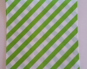 """10 Medium Size Green and White Diagonal striped Candy bags, 5 1/8"""" x 6 3/8"""""""