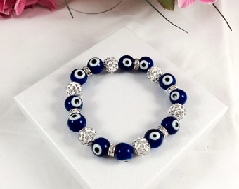 Evil Eye Shamballa Bracelet - High Quality Glass Beads