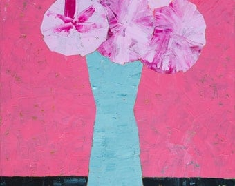 Original Abstract Still Life Painting of Flowers in a Vase Acrylic Painting 18x24