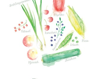 Art print fruits and vegetables SUMMER