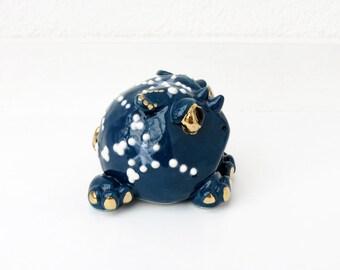 Ceramic rhino, stargazer ceramic, porcelain rhino, rhino ornament, rhino sculpture, toad ornament, blue and white,STR002