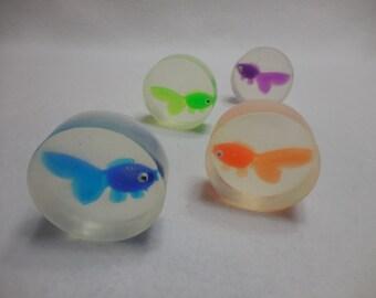 Fish Soap (4 pk) - Kids Gift - Handmade Glycerin Mini Soap - Children's Party Favor - Homemade Guest Soap-Decorative Goldfish Soap