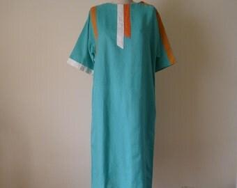 Teal Linen Caftan Dress