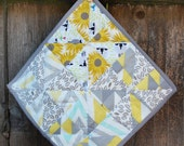 Organic Baby Lovey/Quilted Blanket, Reversible/Washable, Gender Neutral, Gray and Yellow - Ready to Ship