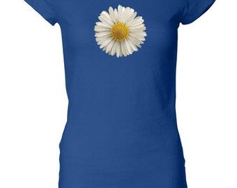 Ladies Flower Shirt White Daisy Longer Length Tee T-Shirt DAISY-8101